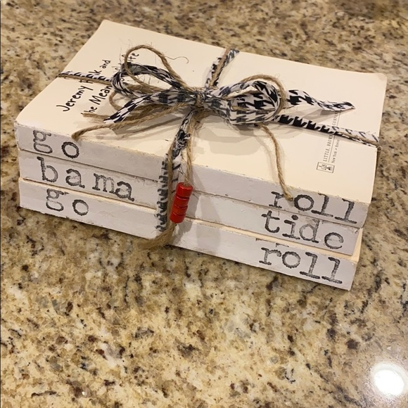 Hand-stamped Alabama Crimson Tide book stack!